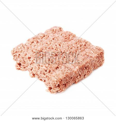 Raw miced force meat over white isolated background