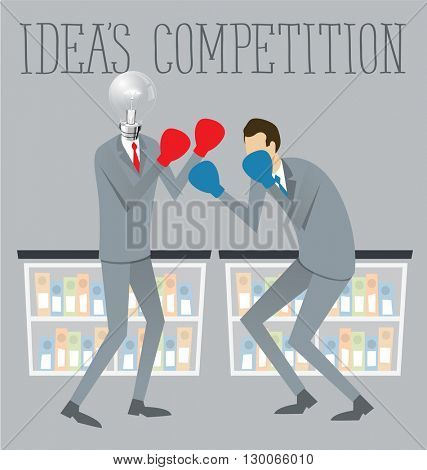 Vector flat business concept competition. Two boxing business men