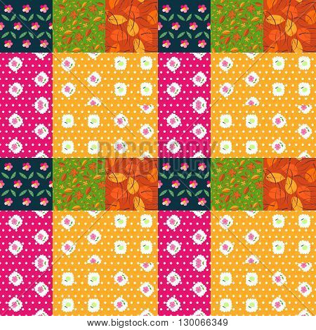 Bright patchwork pattern from patches with leaves and flowers. Seamless quiting design. Vector illustration.