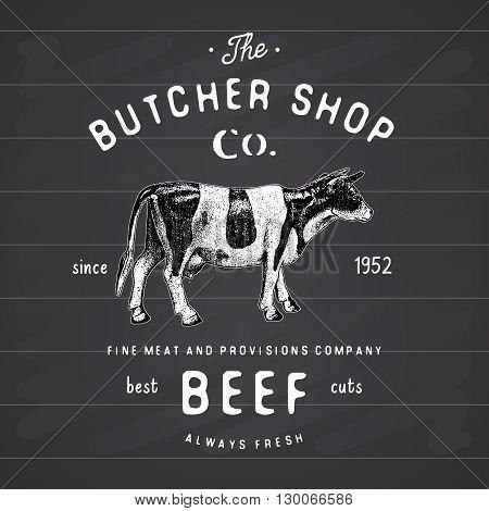 Butcher Shop Vintage Emblem Beef Meat Products, Butchery Logo Template Retro Style. Vintage Design F
