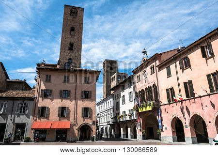 Alba,Piedmont,Italy,Europe - May 3, 2016 : City Hall and towers in Piazza Risorgimento