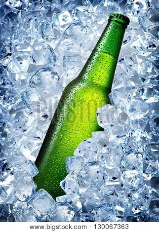 Green bottle in a cold blue ice