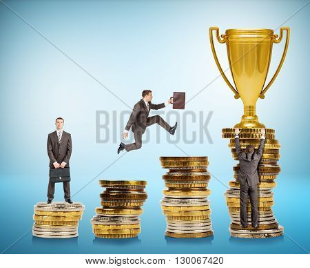 Set of businessman trying to get gold cup moving on coins stairs