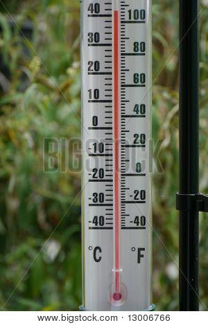 Garden thermometer in a heatwave