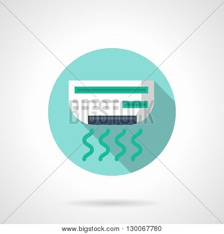 Wall-mounted air conditioner with long shadow. Indoors air temperature control, climate technology, acclimatization. Household and office appliances. Round flat color style vector icon.