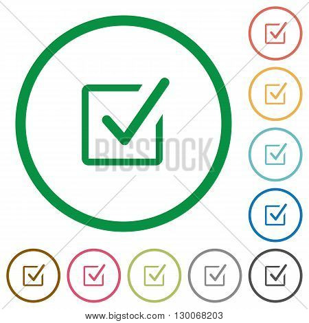 Set of Checked box color round outlined flat icons on white background