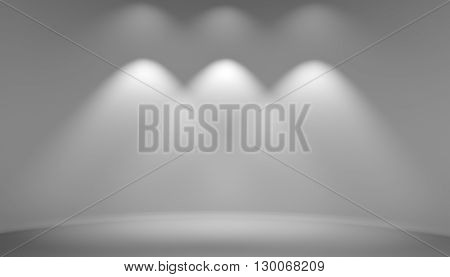 Background empty gray studio room. With space for your text and objects. 3d rendering blank exhibition room with lights on wall