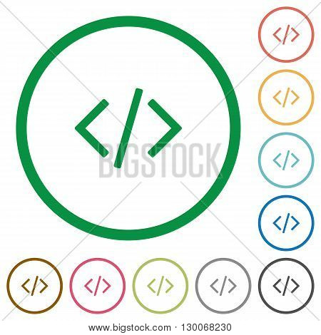Set of programming code color round outlined flat icons on white background