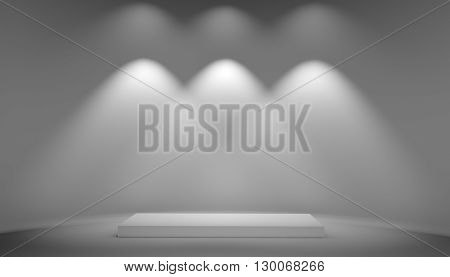 White podium on grey background. Exhibition pedestal and light from lamps on wall. 3D illustration