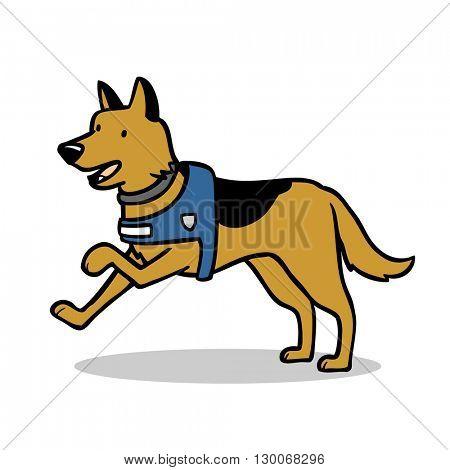 Cartoon illustration of German shepherd dog with harness