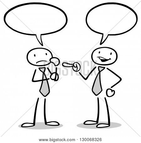 Communication between two cartoon business people with speech bubbles