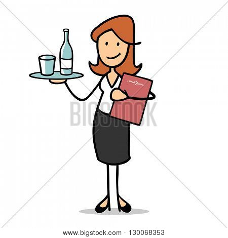 Cartoon waitress with tray and drinks and the menu