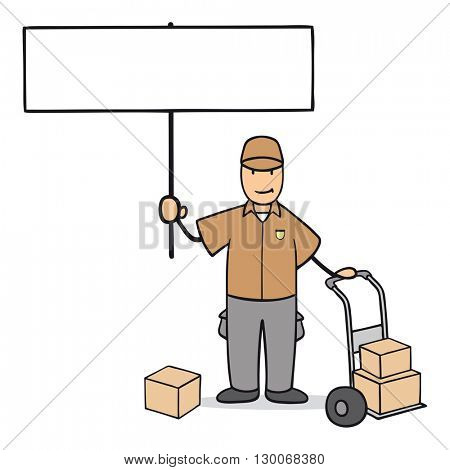 Cartoon man as parcel delivery guy holding up an empty sign