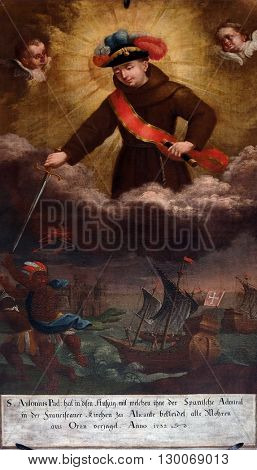 KOTARI, CROATIA - SEPTEMBER 16: Saint Anthony of Padua in the uniform of an admiral in the battle of Oran, altarpiece in the church of Saint Leonard of Noblac in Kotari, Croatia on September 16, 2015.
