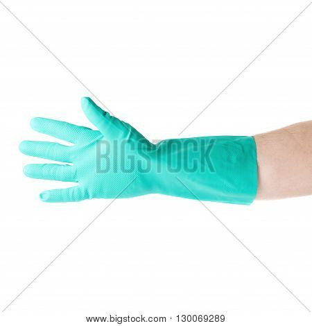 Hand in rubber latex green glove  with gesture showing five fingers over white isolated background