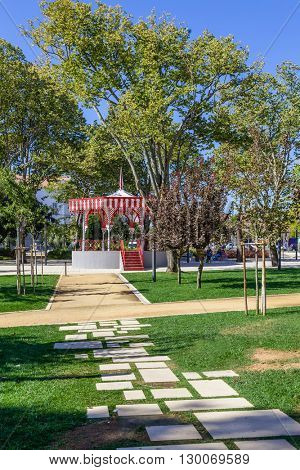 The Republica Garden in Santarem, Portugal, with the 19th century Bandstand.