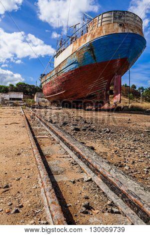 Fishing ship abandoned in a Seixal shipyard. Portugal