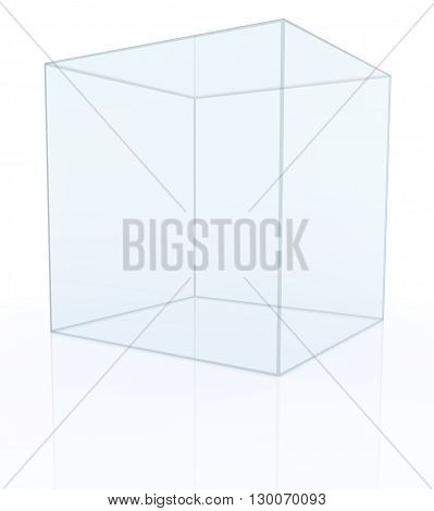 Empty transparent glass box  isolated on white background. 3D rendering