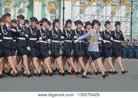 SAINT PETERSBURG, RUSSIA - MAY 05, 2015: Cadets of the police Academy marching on parade rehearsal in honor of Victory Day