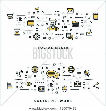 Social Media and Social Network. Vector Flat Thin Line Illustration for Website Banner or Header. Flat Line Icons and Geometric Design Elements