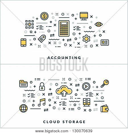 Accounting and Cloud Storage. Vector Flat Thin Line Illustration for Website Banner or Header. Flat Line Icons and Geometric Design Elements