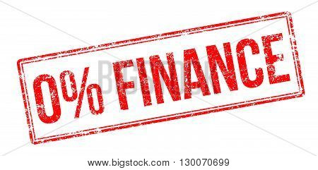 Zero Percent Finance Red Rubber Stamp On White
