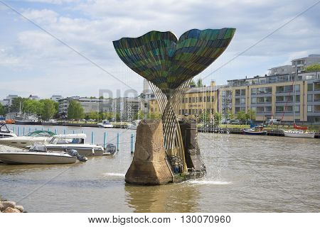 TURKU, FINLAND - JUNE 13, 2015: Fountain