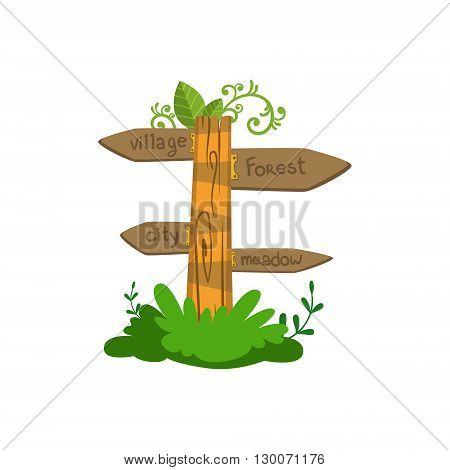 Wooden Direction Sign Flat Vector Icon In Cute Girly Style Isolated On White Background