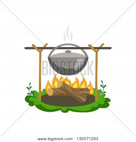 Food Preparing On Bonfire Flat Vector Icon In Cute Girly Style Isolated On White Background
