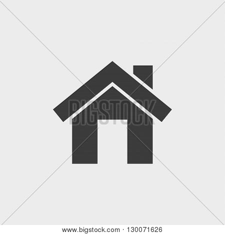 Small house. Icon Vector in black on a gray background