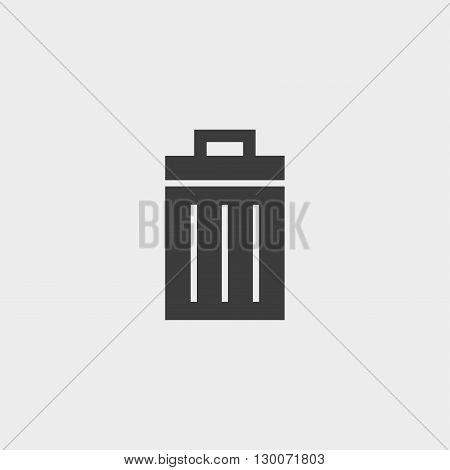 Trash bin icon vector in black color