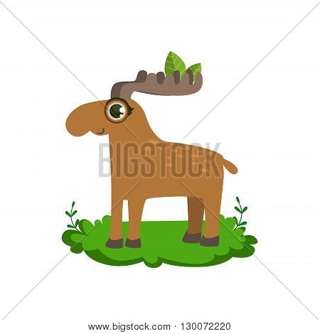 Moose Friendly Forest Animal Flat Vector Icon In Cute Girly Style Isolated On White Background