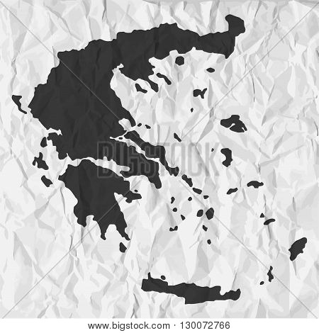 Greece map in black on a background crumpled paper