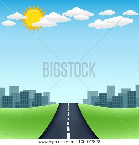 The road trip with city on the horizon and blue sky with sun and clouds on background