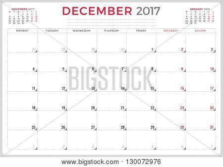 Calendar Planner For 2017 Year. Vector Design Template. December. Week Starts Monday. 3 Months On Pa