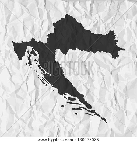 Croatia map in black on a background crumpled paper