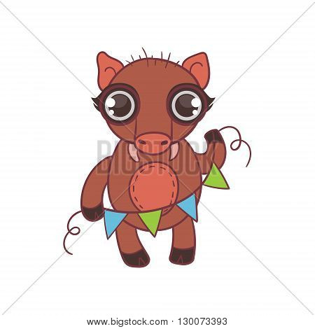 Toy Wild Boar With Garland Flat Vector Icon In Cute Girly Style Isolated On White Background
