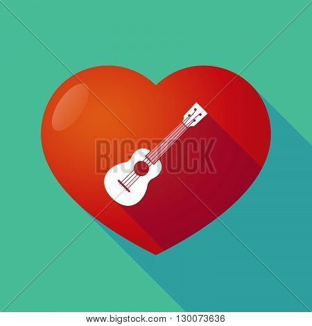 Long Shadow Red Heart With  An Ukulele