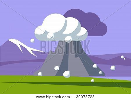 Volcano Erupting In Iceland Flat Bright Color Simplified Vector Illustration In Realistic Cartoon Style Design