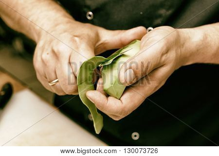 Chef is peeling avocado at commercial kitchen, toned image