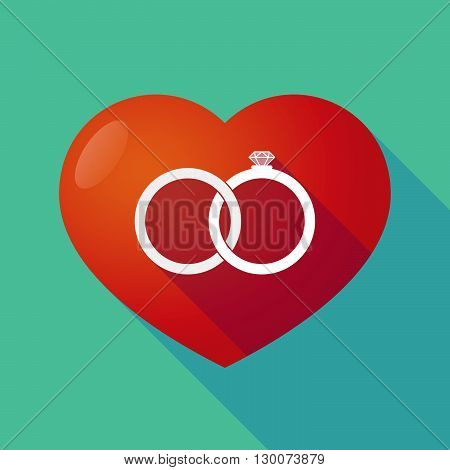 Long Shadow Red Heart With  Two Bonded Wedding Rings