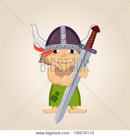 Little Kid Dressed As Viking Flat Bright Color Simplified Vector Illustration In Fun Cartoon Style Design