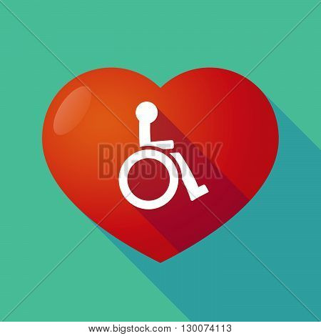 Long Shadow Red Heart With  A Human Figure In A Wheelchair Icon