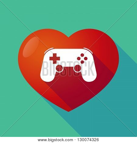 Long Shadow Red Heart With  A Game Pad