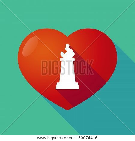 Long Shadow Red Heart With A Bishop    Chess Figure