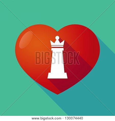 Long Shadow Red Heart With A  Queen   Chess Figure