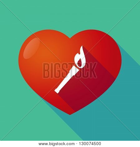 Long Shadow Red Heart With  A Torch Icon