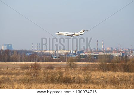 SAINT PETERSBURG, RUSSIA - MARCH 28, 2016: Private aircraft Bombardier Global 6000-BD-700 landing in Pulkovo airport