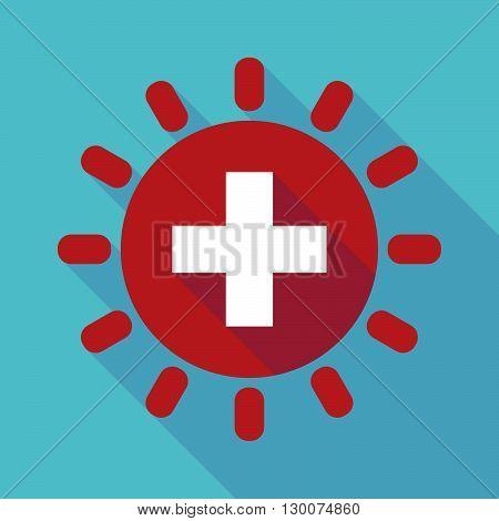 Long Shadow Sun With   The Swiss Flag