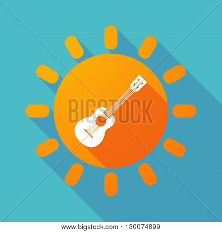 Long Shadow Sun With  An Ukulele